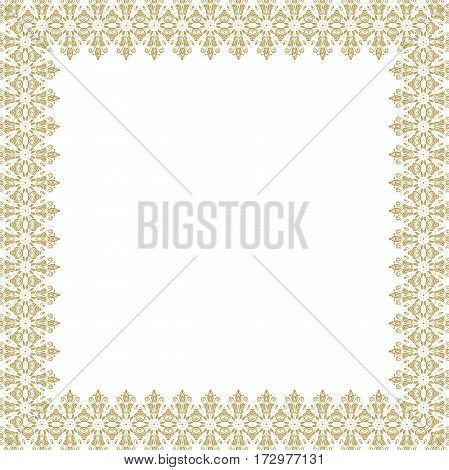 Classic square frame with gold arabesques and orient elements. Abstract fine ornament with place for text