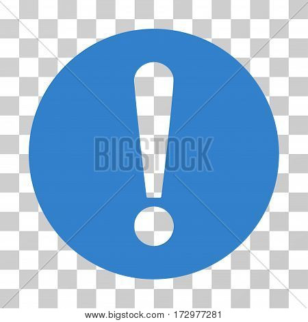 Problem vector pictograph. Illustration style is flat iconic cobalt symbol on a transparent background.