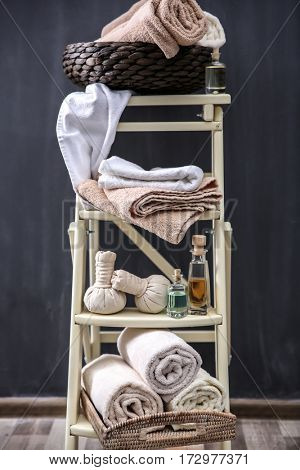Ladder shelves with spa stuff