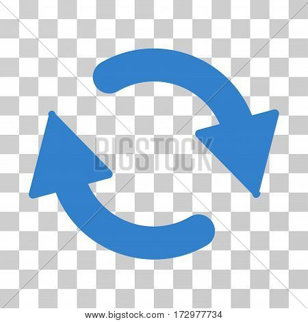 Refresh vector icon. Illustration style is flat iconic cobalt symbol on a transparent background.