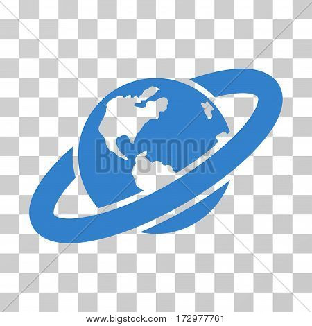 Ringed Planet vector pictograph. Illustration style is flat iconic cobalt symbol on a transparent background.