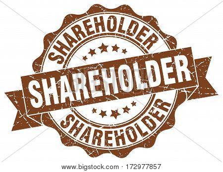 shareholder. stamp. sign. seal. round. retro. ribbon