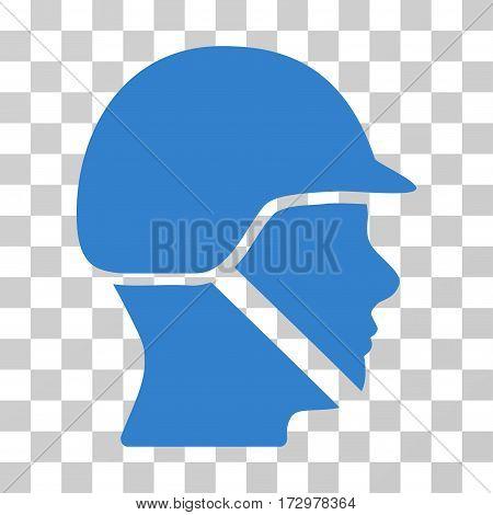 Soldier Helmet vector icon. Illustration style is flat iconic cobalt symbol on a transparent background.