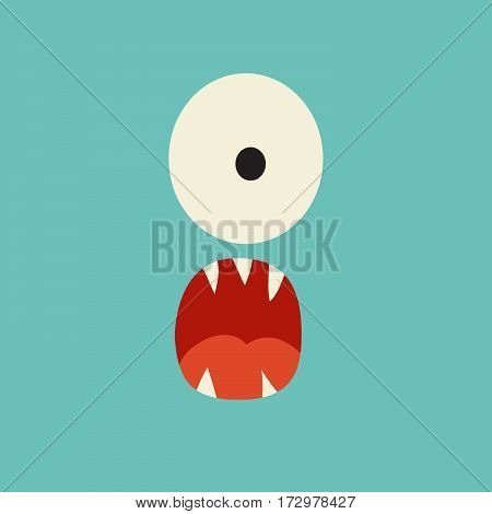 Emoji surprised monster. Cute shocked cyclops vector illustration. Cartoon funny emoticon. Monster sticker flat cartoon style