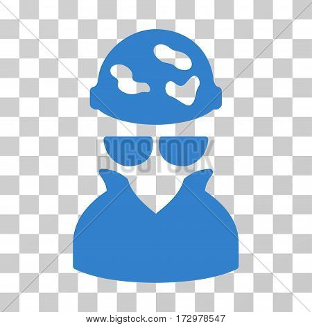 Spotted Spy vector icon. Illustration style is flat iconic cobalt symbol on a transparent background.