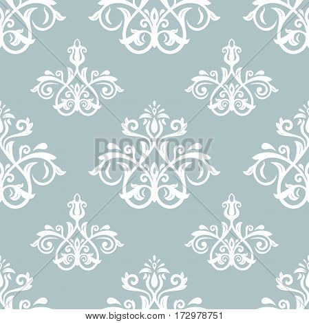 Seamless damask pattern. Traditional classic orient ornament. Blue and white pattern