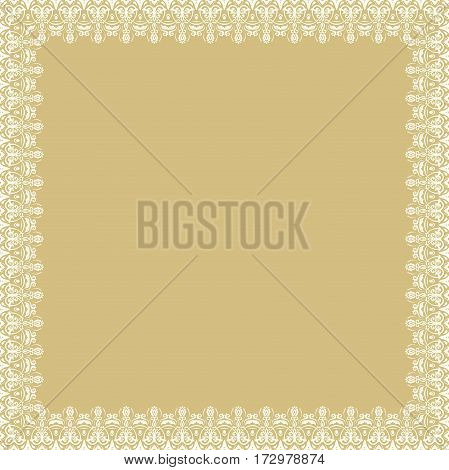 Classic square frame with arabesques and orient elements. Abstract fine ornament with place for text. Beige and white