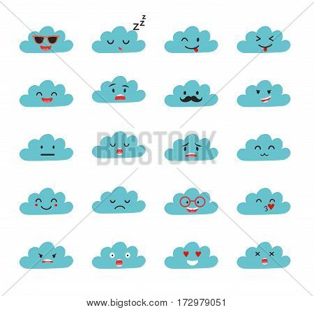 Emoji clouds vector. Cute smily clouds with faces vector set. Cartoon funny emoticon. Flat cartoon style stickers. Isolated on white background
