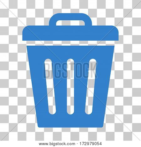 Trash Can vector pictogram. Illustration style is flat iconic cobalt symbol on a transparent background.