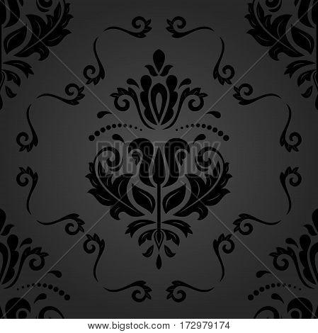 Seamless damask dark pattern. Traditional classic orient ornament