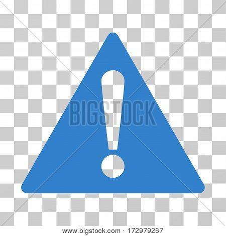 Warning vector pictogram. Illustration style is flat iconic cobalt symbol on a transparent background.