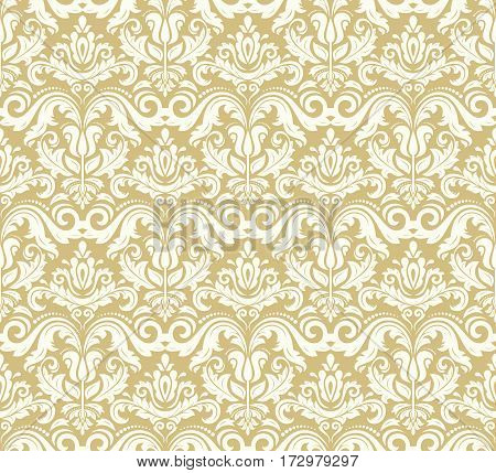 Seamless damask pattern. Traditional classic orient ornament. Golden and white pattern