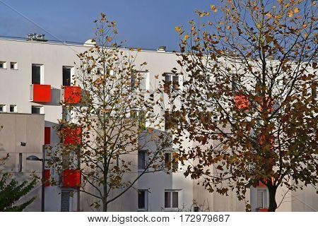 Les Mureaux France - november 19 2016 : a renovate apartment block