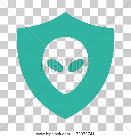 Alien Protection vector pictogram. Illustration style is flat iconic cyan symbol on a transparent background.