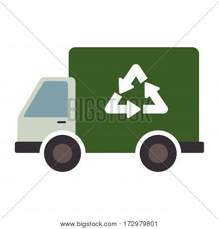 recycle truck ecology symbol icon vector illustration design