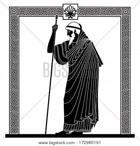 Greek old man with a staff Vector Image.