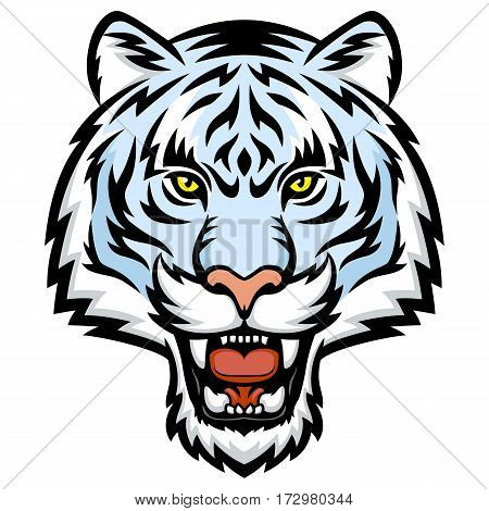 A White tiger head logo. This is vector illustration ideal for a mascot tattoo or T-shirt graphic.