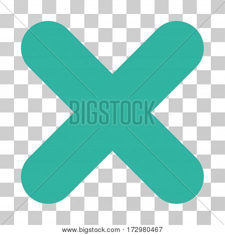 Cancel vector pictograph. Illustration style is flat iconic cyan symbol on a transparent background.