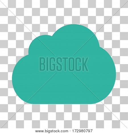 Cloud vector icon. Illustration style is flat iconic cyan symbol on a transparent background.
