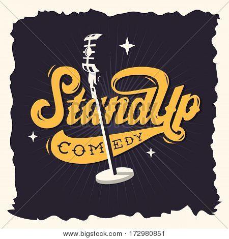 Stand Up Comedy Show Label Poster Sign Retro American Seventies New Age Western Script Lettering Design With A Scene Microphone Illustration.