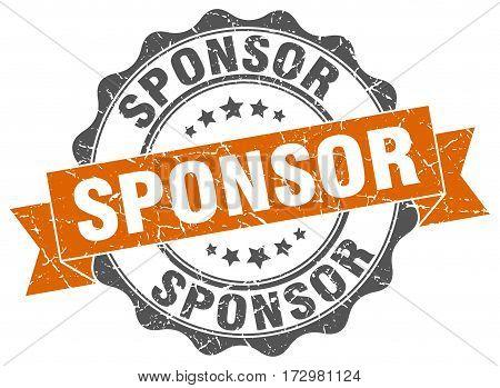 sponsor. stamp. sign. seal. round. retro. ribbon