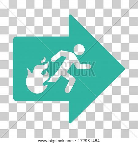 Fire Exit vector pictogram. Illustration style is flat iconic cyan symbol on a transparent background.