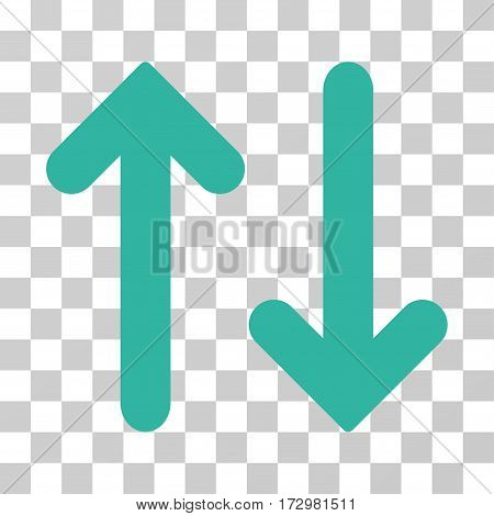 Flip Vertical vector icon. Illustration style is flat iconic cyan symbol on a transparent background.