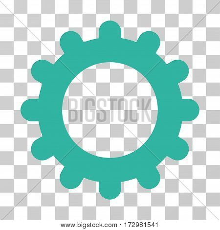 Gear vector icon. Illustration style is flat iconic cyan symbol on a transparent background.