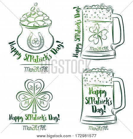 Design for St Patricks Day shamrock horseshoe beer mug golden pot vector illustration