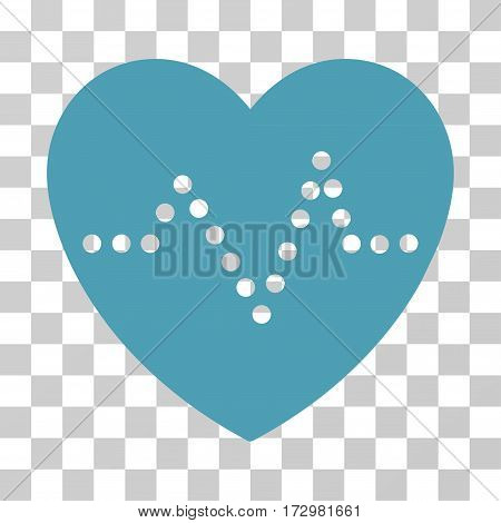 Heart Pulse vector pictograph. Illustration style is flat iconic cyan symbol on a transparent background.