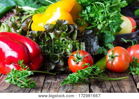 Fresh vegetables, red and yelow bell pepper lettuce, mangold spinach green chili tomatoes, parsley on wooden rustic background. Healthy vegetarian food