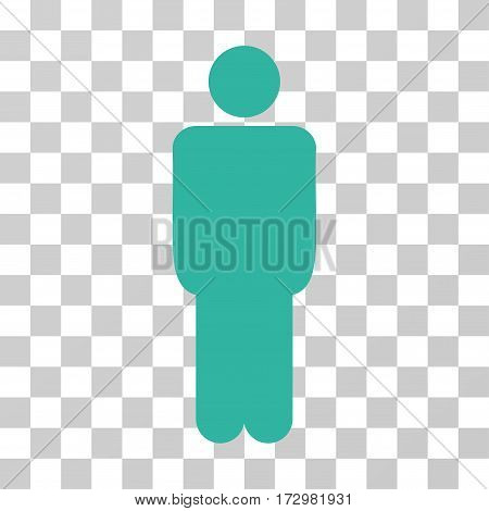 Man vector pictograph. Illustration style is flat iconic cyan symbol on a transparent background.