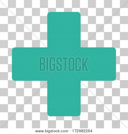Plus vector pictogram. Illustration style is flat iconic cyan symbol on a transparent background.