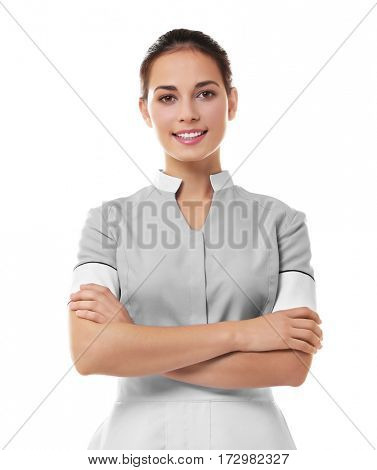 Hotel female chambermaid on white background