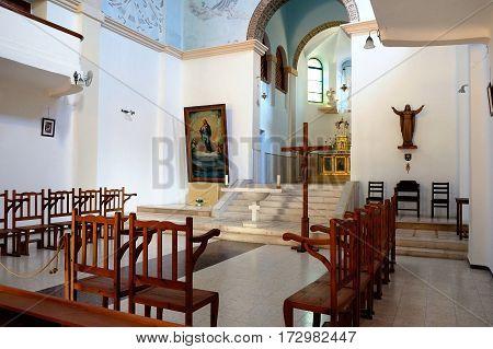 DEIR RAFAT ISRAEL - FEBRUARY 17 2017: Interior of the church in the monastery of Dir Rafatt