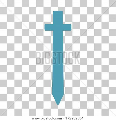 Symbolic Sword vector pictograph. Illustration style is flat iconic cyan symbol on a transparent background.