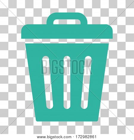 Trash Can vector pictogram. Illustration style is flat iconic cyan symbol on a transparent background.