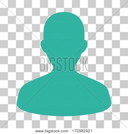 User vector pictogram. Illustration style is flat iconic cyan symbol on a transparent background.