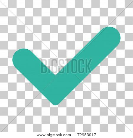 Yes vector pictograph. Illustration style is flat iconic cyan symbol on a transparent background.