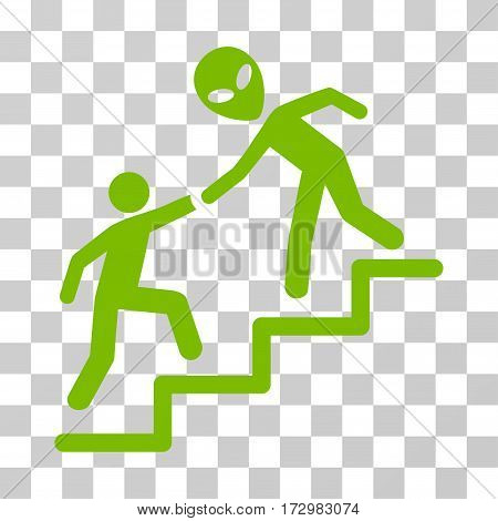 Alien Training Help vector pictogram. Illustration style is flat iconic eco green symbol on a transparent background.