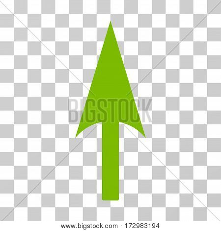 Arrow Axis Y vector pictograph. Illustration style is flat iconic eco green symbol on a transparent background.