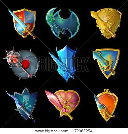 Cartoon decorative medieval weapons set of swords knifes and mace with shields for game design isolated vector illustration