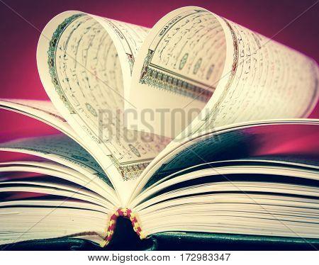 Macro image of a koran,