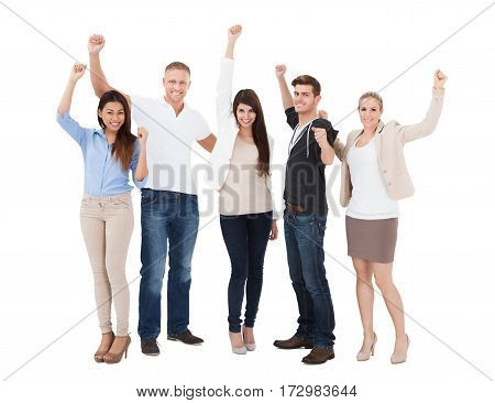 Group Of A Young Successful People Raising Hand Over White Background