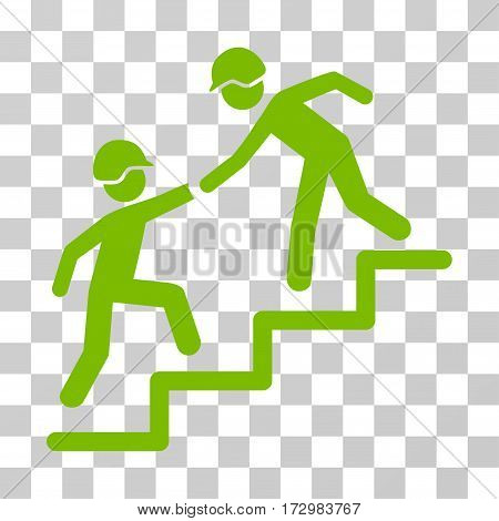 Builder Business Help vector icon. Illustration style is flat iconic eco green symbol on a transparent background.