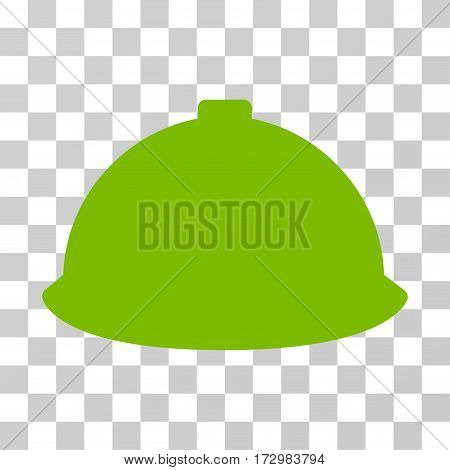 Builder Helmet vector pictograph. Illustration style is flat iconic eco green symbol on a transparent background.