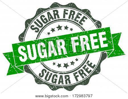 sugar free. stamp. sign. seal. round. retro. ribbon