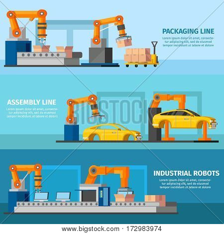 Industrial automated manufacturing horizontal banners with robotic arms manipulators and loaders working on assembly line vector illustration