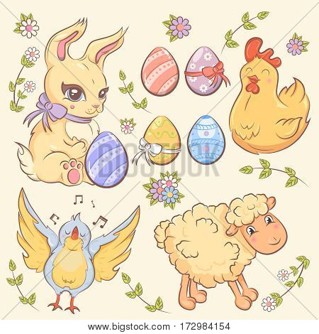 Easter elements collection with colored eggs cute rabbit chicken sheep singing bird and flowers isolated vector illustration
