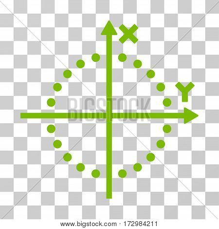 Circle Plot vector pictograph. Illustration style is flat iconic eco green symbol on a transparent background.